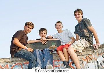 csoport, közül, tizenéves fiú
