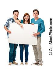 csoport, közül, tizenéves kor, noha, egy, transzparens
