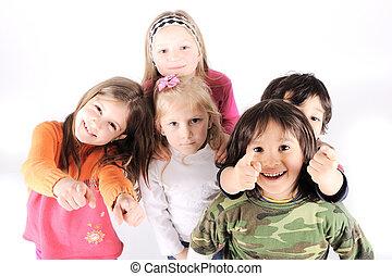 csoport, közül, vidám, gyerekek, alatt, műterem