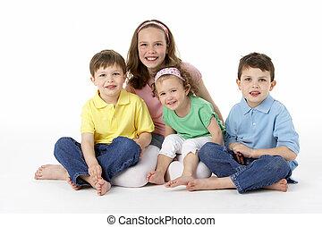 csoport, közül, young gyermekek, alatt, műterem