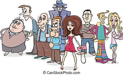csoport, karikatúra, emberek