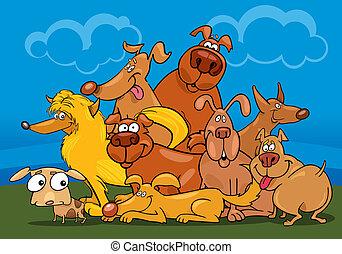 csoport, karikatúra, kutyák
