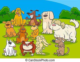 csoport, kutyák, ábra, karikatúra