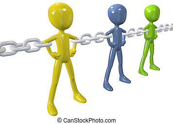csoport, lánc, emberek, egyesít, különböző, összekapcsol, erős