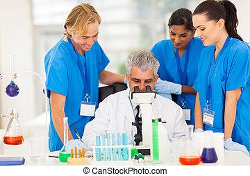 csoport, labor, dolgozó, tudósok