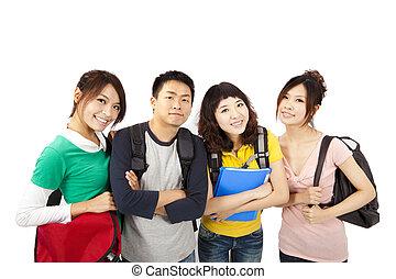 csoport, mosolygós, barátok, boldog