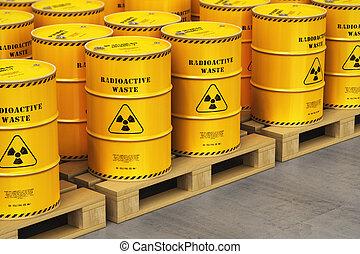csoport, paletták, hajózás, sárga, dobok, raktárépület, radioaktív, hulladék