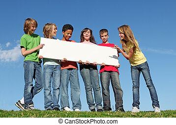 csoport, poszter, különböző, birtok, tiszta, fehér, gyerekek