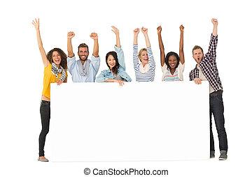 csoport, poszter, kiállítás, fiatal, nagy, éljenzés, háttér, mosolygós, barátok, fehér