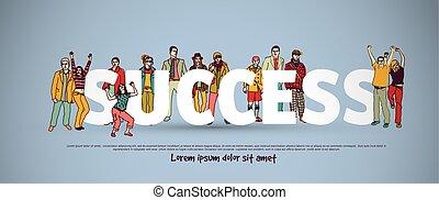 csoport, siker, ügy emberek, cégtábla., befog