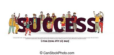 csoport, siker, ügy emberek, izolál, white., befog