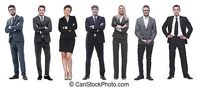 csoport, sikeres, row., álló, emberek ügy