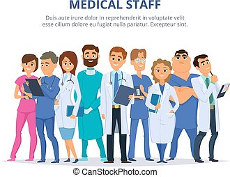 csoport, staff., orvosi, női, orvosok, hím