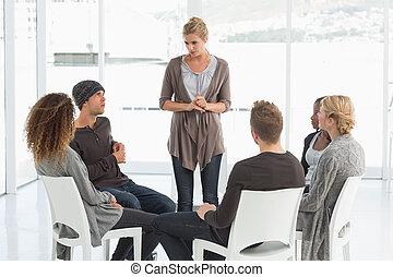 csoport, stan, kihallgatás, nő, rehab