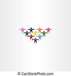 csoport, színes, emberek, diákok, vektor, jel, ikon