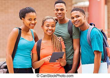csoport, tabletta, diákok, egyetem, amerikai, számítógép,...