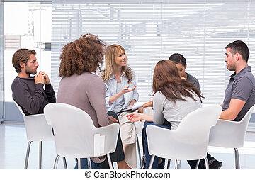 csoport, terápia, ülésszak
