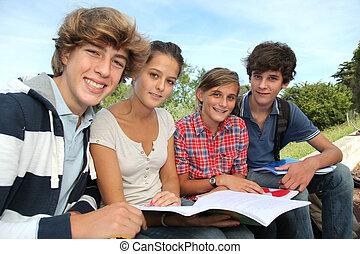 csoport tizenéves, tanulás, kívül, a, osztály