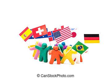 csoport, tolong, emberi, különféle, gyurma, zászlók, ...