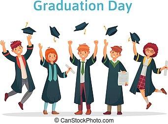 csoport, vizsgálat, siker, students., dobás, egyetem, feláll, fokozatokra osztás, diplomás, elméleti, vektor, főiskola, ábra, diák, kivezetés, nap