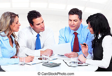 csoport, working., ügy emberek