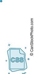 css, bestand, type, pictogram, ontwerp, vector