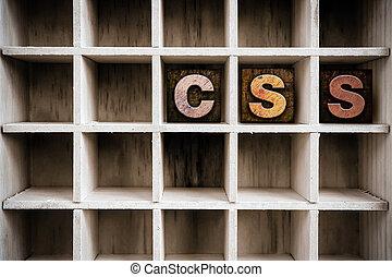 css, conceito, madeira, letterpress, tipo, em, desenhar