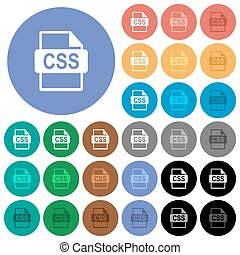 CSS file format round flat multi colored icons