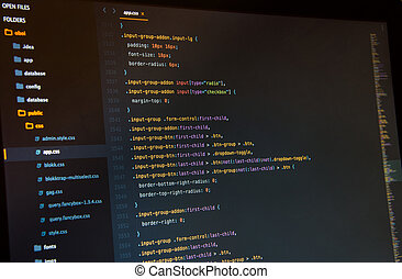 Css3 in code editor, close up. Programming concept