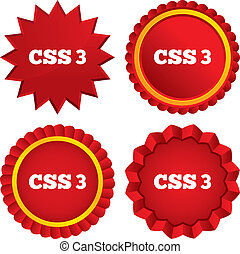 CSS3 sign icon. Cascading Style Sheets symbol. Red stars stickers. Certificate emblem labels. Vector