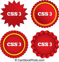 css3, stil, symbol., cascading, underteckna, ark, icon.