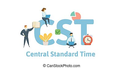 CST, Central Standard Time. Concept with keywords, people and icons. Flat vector illustration. Isolated on white background.