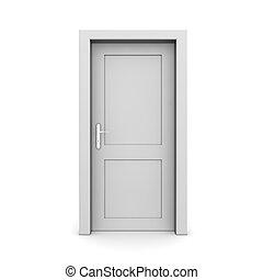 csukott, egyedülálló, szürke, ajtó