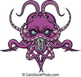 Cthulhu horror emblem - Stylized mystical monster-octopus...