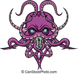Cthulhu horror emblem - Stylized mystical monster-octopus...