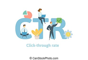CTR, click trough rate. Concept with keywords, letters, and icons. Flat vector illustration. Isolated on white background.