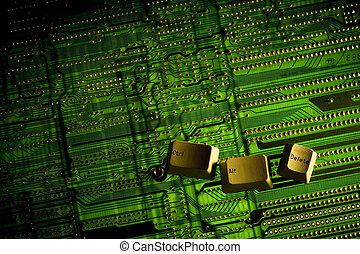 Ctrl Alt Delete keys placed on a backlight circuit board.