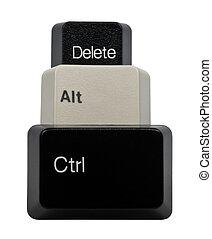 ctrl, alt, llaves, aislado, negro, teclado, del, blanco