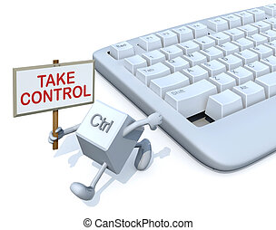 ctrl key with banner run away from a keyboard. 3d...