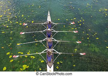cuádruple, verde, remo, turquesa, hombres, lago, equipo