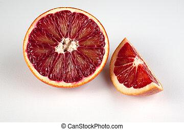 cuña, siciliano, aislado, sangre, mitad, naranja, rojo...