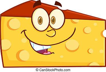 cuña, sonriente, carácter, queso