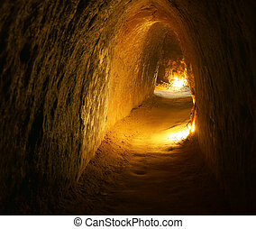 Cu Chi tunnel with underground dug out - Cu Chi tunnel,...