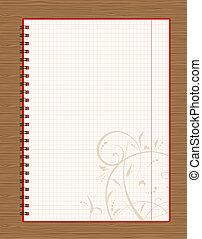 cuaderno, abierto, página, diseño, en, de madera, plano de...