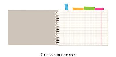 cuaderno, abierto, página, para, su, diseño
