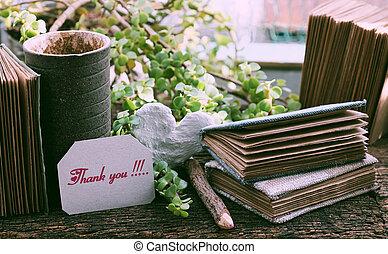cuaderno, agradecer, escritura, papel, mensaje, kraft, concepto, usted, pedazo