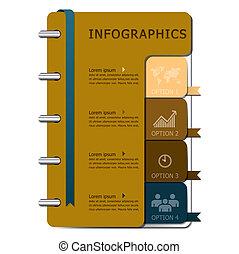 cuaderno, diseño, plantilla, infographics