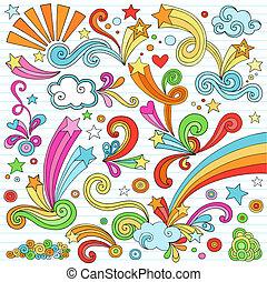 cuaderno, doodles, vector, conjunto