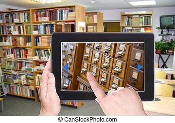 cuaderno electrónico, pc., biblioteca