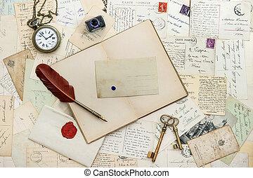 cuaderno, escritura, accesorios, y, postales